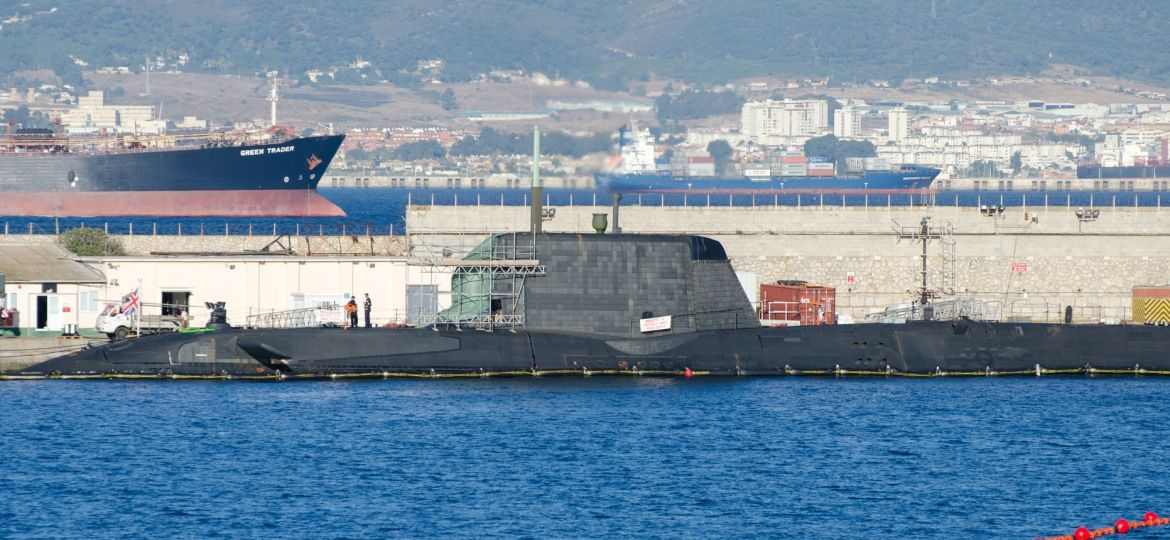 HMS Ambush being repaired in Gibraltar