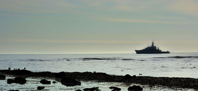 Naval ship in Robin Hoods Bay